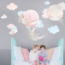 hot air balloon fabric decal wall stickers pretty floral zoom