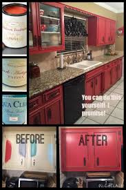 Easy Kitchen Makeover Ideas Diy Painted Red Cabinets In The Kitchen Diy Cabinets Red Paint