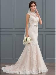 high neck wedding dresses trumpet mermaid high neck sweep tulle lace wedding dress