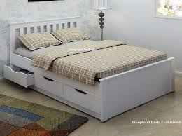 Wooden White Bed Frames Awesome Almeria White Wooden Bed Frame Sleepland Beds With Regard