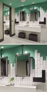 best ideas about art deco bathroom pinterest staggered bathroom wall tiles add height depth and interest love the unusual use green ceiling with monochrome scheme