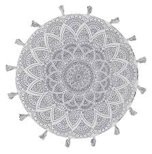 buy gypsy snowflake cotton printed braided round white rug at