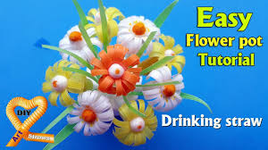 straw flowers and easy flower pot tutorial how to make beautiful