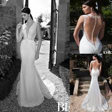 backless lace wedding dresses discount 2015 new arrival berta bridal wedding dresses v