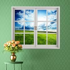 grassland 3d artificial window view blue sky 3d wall decals room grassland 3d artificial window view blue sky 3d wall decals room pag stickers home wall decor