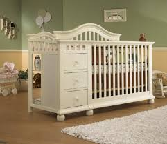 White Crib With Changing Table White Baby Crib Baby Nursery Room With Round Window And White