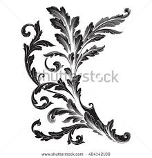 vintage baroque frame scroll ornament engraving stock vector
