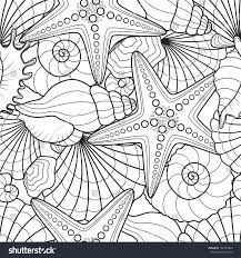 seamless background starfish seashells pattern can stock vector