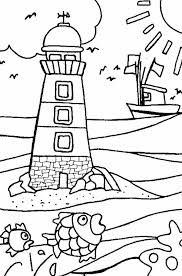 a huge lighthouse near the beach shore coloring page download