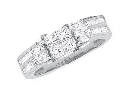 white gold bridal sets white gold invisible baguette cut diamond bridal set