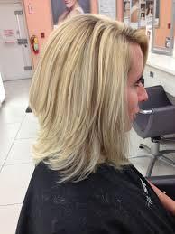 barely there angled long bob with layers highlighted with a few