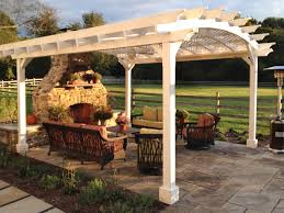 white pergola arched roof with lattice panels 18ft by 16ft 15