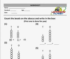 maths addition worksheet abacus practice sheet grade 1 learners