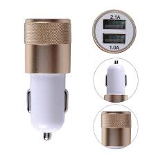 Car Charger With Usb Ports Metal Alloy Dual Usb Car Charger Led Light 5v 3 1a 2 Ports Sync