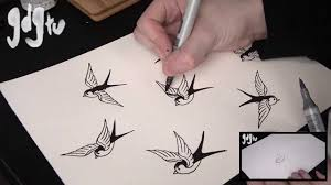 old swallow sparrow tattoo flash shading and colouring