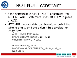 alter table not null managing constraints 2 home back first prev next last what will i