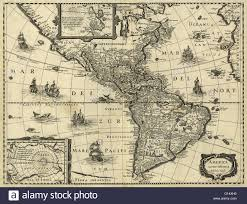 New World Map by 17th Century Map Of The Americas Published In Paris Around 1640