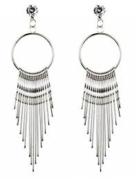 dangle earrings embellished metal tassel dangle earrings silver