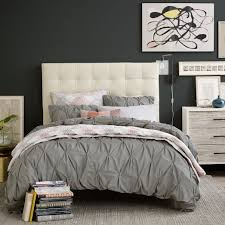 Leather Tufted Headboard Tall Grid Tufted Leather Bed Ivory West Elm