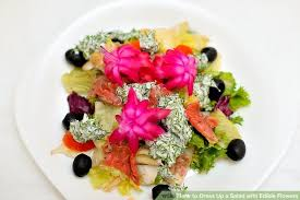 edible flower garnish 3 ways to dress up a salad with edible flowers wikihow