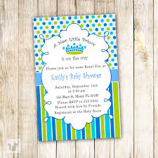 new little prince baby shower invitation card blue polka