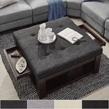 Storage Ottoman Coffee Table Lennon Espresso Square Storage Ottoman Coffee Table By Inspire Q