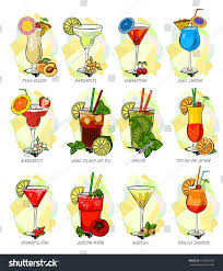 cartoon margarita vector cocktails set isolated martini stock vector 514054108
