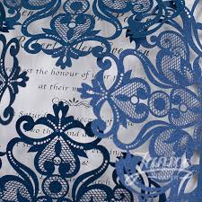 Wholesale Wedding Invitations Navy Blue Floral Laser Cut Wholesale Wedding Invitations Wpl0083