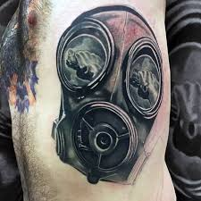 man side rib realistic gas mask tattoo