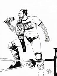 wwe coloring pages cm punk archives inside punk coloring pages