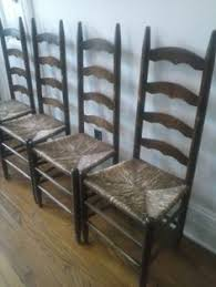 Antique Oak Ladder Back Chairs Set Of 4 Wood Antique Rustic Ladder Back Chairs Rush Seats Pick