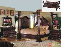 Canopy Bedroom Sets Queen by King Cherry Poster Canopy Bed W Leather Master Bedroom Set W