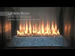 Empire Comfort Systems Loft Series Burner With Blue Clear Glass And Stainless Steel