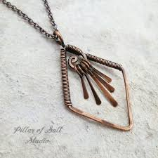 necklace rings pendant images Diamond shape fringe copper wire wrapped necklace pillar of salt jpg