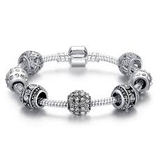 silver bracelet with crystal images Silver plated crystal bead charm bracelet ace gems jpg