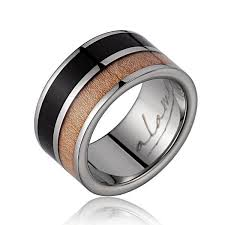 wood engagement rings thaddesus titanium ring with genuine macassar maple wood