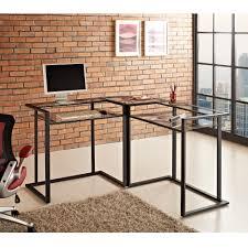 furniture black metal and glass corner computer desk with shelf