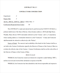 9 job contract templates free sample example format download