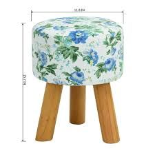 floral blue round ottoman small foot stool with wood legs foot