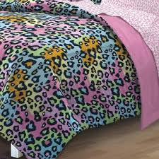 Girls Queen Comforter Kids Bedding Rainbow Leopard Girls Queen Comforter Set 7 Piece
