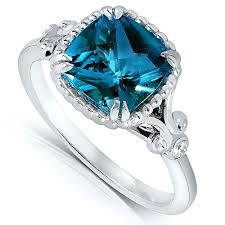 topaz engagement ring cushion cut london blue topaz and diamond engagement ring 2 1 3
