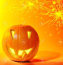 halloween pumpkins background halloween glowing pumpkins over bright yellow fireworks background