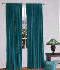 amazon com jovi home velvet window curtain 52 by 96 inch teal