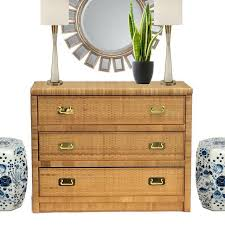 Rattan Console Table Vintage Rattan Brass Hardware Chest Of Drawers Console Table