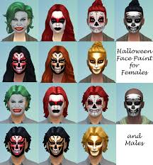 mod the sims halloween face paint for males and females teen