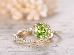 peridot engagement rings 7mm cut peridot engagement ring set peridot ring and diamond