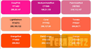 x11 color names with hex and rgb table cheat sheet http
