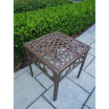 Patio Side Tables Metal Bronze Outdoor Side Tables Patio Tables The Home Depot