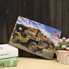american jeep 20x30cm army world war ii american jeep sign metal wall decor