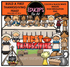 Thanksgiving Feast Clip Build A Thanksgiving Feast Clip Bundle Color And B W